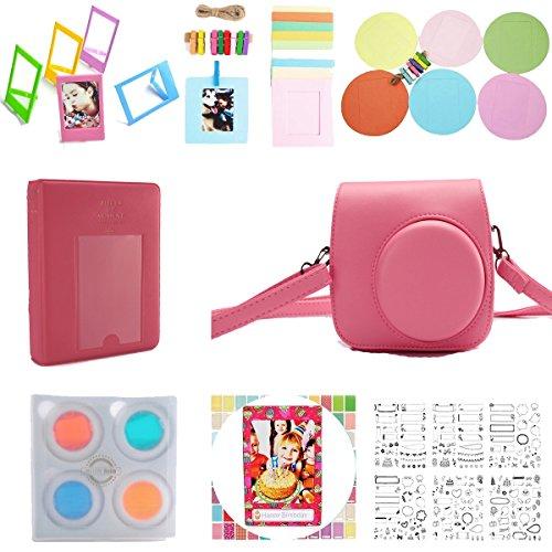 Fujifilm Instax Mini 9 mini 8 Instant Film Camera 8-in-1 Accessories Bundles(Include Mini 9/8 Case/Album/message Sticker/Filter/Wall Hang Frames/mini Film Frame/Film Stickers)-Flamingo Pink