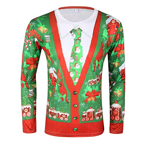 iEFiEL Men Long Sleeve Christmas Costume 3D Printed T-shirt Cardigan Tie Style Funny Tee Tops Green&White&Red X-Large (3d Green T-shirt)