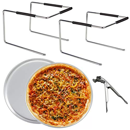 Tiger Chef Pizza Stand and Pizza Pan Set: Two Pizza Stands for Tables, Two 12 inch Pizza Pans and Pan Gripper