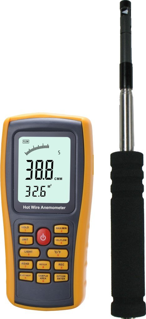 Hot Wire Digital Anemometer Air Temperature Meter 0~45℃ Wind Speed Flow Tester 0~30m/s with USB Connected with PC by FRU