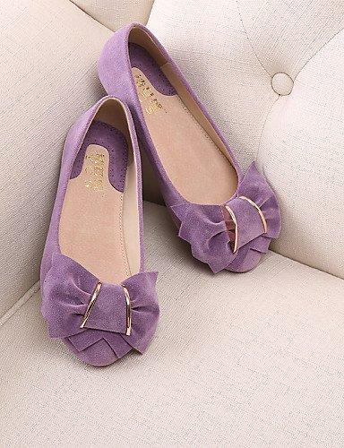 PDX/ Damenschuhe - Ballerinas - Lässig - Wildleder - Flacher Absatz - Mokassin / Rundeschuh / Geschlossene Zehe - Blau / Gelb / Rosa / Lila , purple-us6.5-7 / eu37 / uk4.5-5 / cn37 , purple-us6.5-7 /