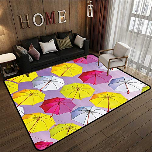 Office Floor mats,Apartment Decor,Circular Round Formed Romantic Color Umbrella Sunshades on Air Motivation Photo,Multi 78.7
