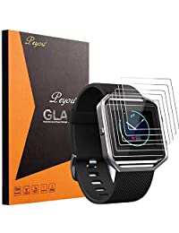 [6-Pack] Screen Protector For Fitbit Blaze - Peyou [Premium Tempered Glass] [High Quality 9H] Screen Protector Perfect for Fitbit Blaze Fitness Watch 2016 Release