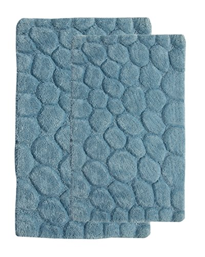 Saffron Fabs 2 Piece Bath Rug Set, 100% Soft Cotton, Size 24x17 Inch and 34x21 Inch, Latex Spray Non-Skid Backing, Arctic Blue, Pebbles Pattern, 190 GSF Weight, Machine Washable, Rectangular Shape