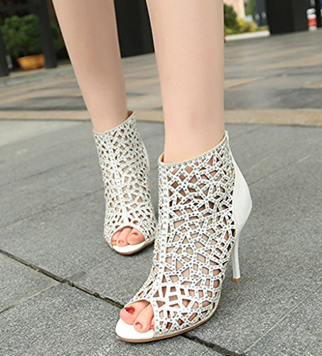 Party Sandal Crystal white Dress High Sparkle velveteen Back Zipper Heels Boots Cutouts Stiletto Women's 81qTv