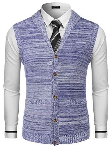 1a072141361 COOFANDY Men s Sweater Vest Slim Fit Shawl Collar Knitted Zip Button Up Cardigan  Sweater
