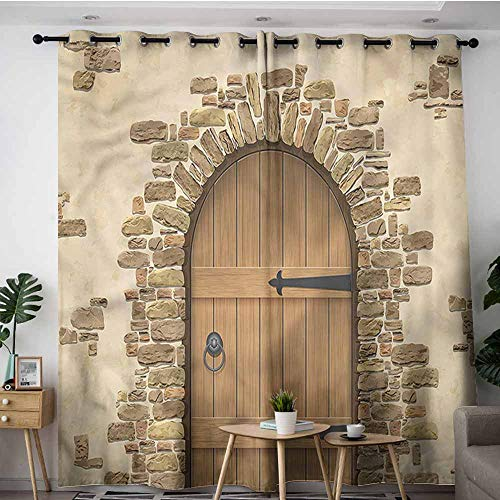 (AndyTours Custom Curtains,Rustic Wine Cellar Architecture,W84x72L)