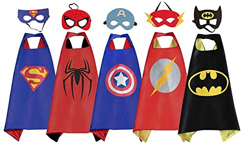 RioRand 5 Pack Cartoon Dress up Costumes Satin Capes Set with Felt Masks for Boys - Kids Costumes Capes