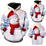 FANOUD Men Casual Hooded Sweater Fashion 3D Christmas Snowman Print Sweater Tops