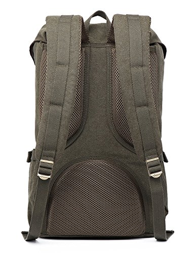Mochila portátil Unisex Paquete de ocio de moda Para excursiones al aire libre viajes camping Por KAUKKO (Lona Ejercito verde) Lona Verde Ejército 2PCS