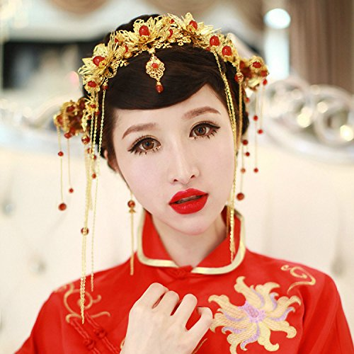 usongs Chinese costume rental bridal headdress hair accessories Coronet dragon and phoenix gown accessories Xiu clothing red diamond water pinch