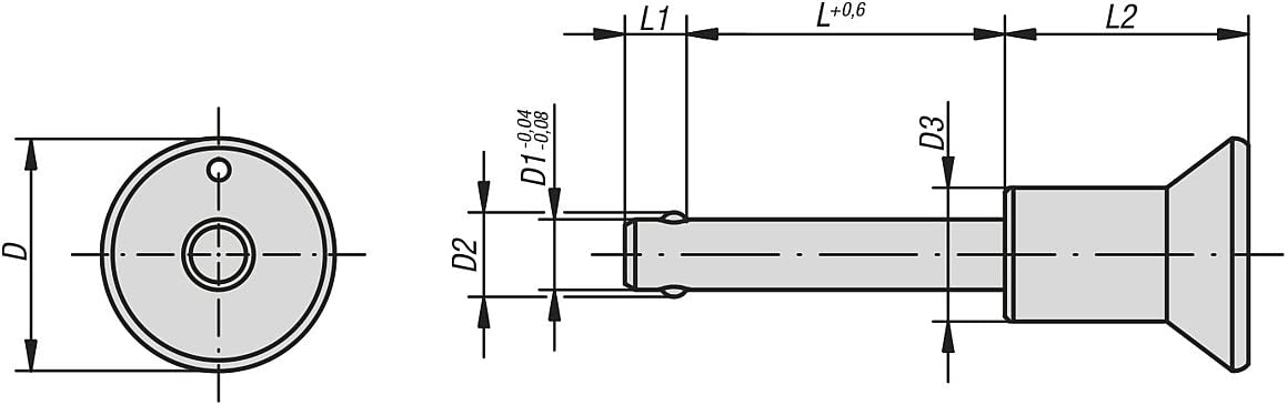 D1/= 12/ Locking /L = 25 Tilting Stainless Steel Ball Locking Pin 1 k0364.3112025