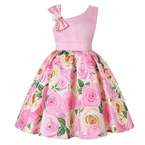 Sunhusing Toddler Children's Sleeveless Off-Shoulder Strap Floral Flower Bow Princess Dress Pageant Gown -
