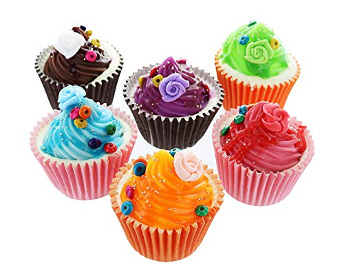 GIFTEXPRESS 6-pack Realistic Pretend Play Scented Cupcakes, Pretend Foods, Pretend Cupcakes -Accessory for Pretend Play Kitchen Set, Princess Tea Party Supplies and Cupcake Surprise Princess Doll Fans