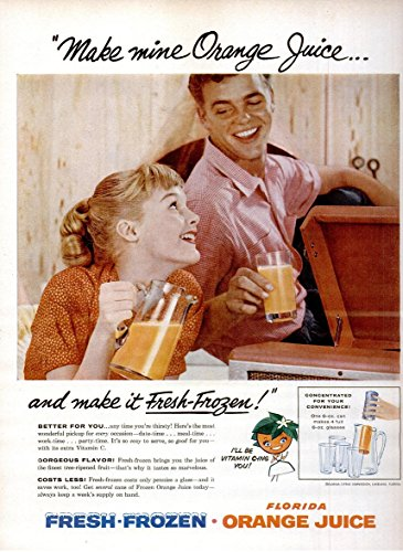 original-print-ad-1956-florida-fresh-frozen-orange-juice-make-mine-orange-juice-vintage-large-color-