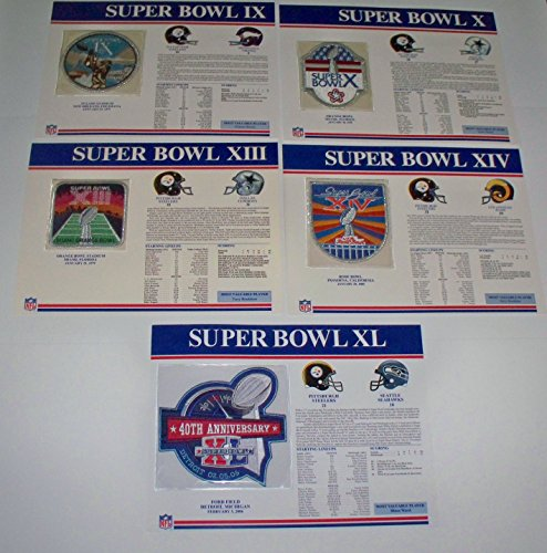 1970s Pittsburgh Steelers 1st 4 Super Bowl Champions Patch 1974 1975 1978 1979 Willabee Ward Patch and Stat Panel Card (Steelers Super Bowl Patches compare prices)