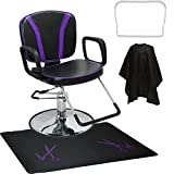 LCL Beauty Purple Reclining Hydraulic All Purpose Cutting Shampoo Chair & Anti-Fatigue Floor Mat for Salon Spa Beauty Equipment