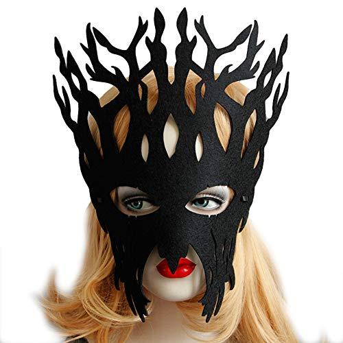 Halloween Mask Party Makeup Women's Sexy Half Mask Black Antlers Eye Mask -