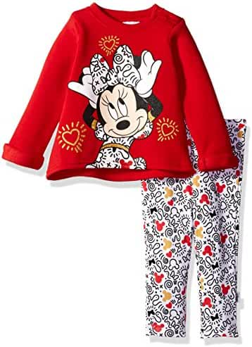 Disney Baby Girls' Minnie Mouse 2 Piece Fleece Top and Legging Set