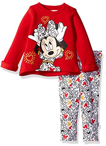 Disney Baby Girls' Minnie Mouse 2 Piece Fleece Top and Legging Set, Chinese Red, 24M