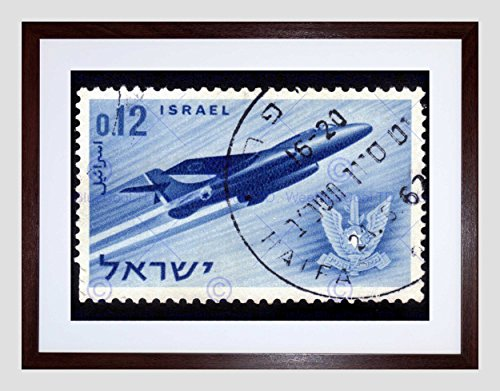 (Israeli Aircraft Fighter Vintage Postage Stamp Black Framed Art Print B12X8688)