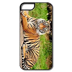 Case For Iphone 5/5S Cover Case, Tiger Sitting Grass White/black Protector Case For Iphone 5/5S Cover
