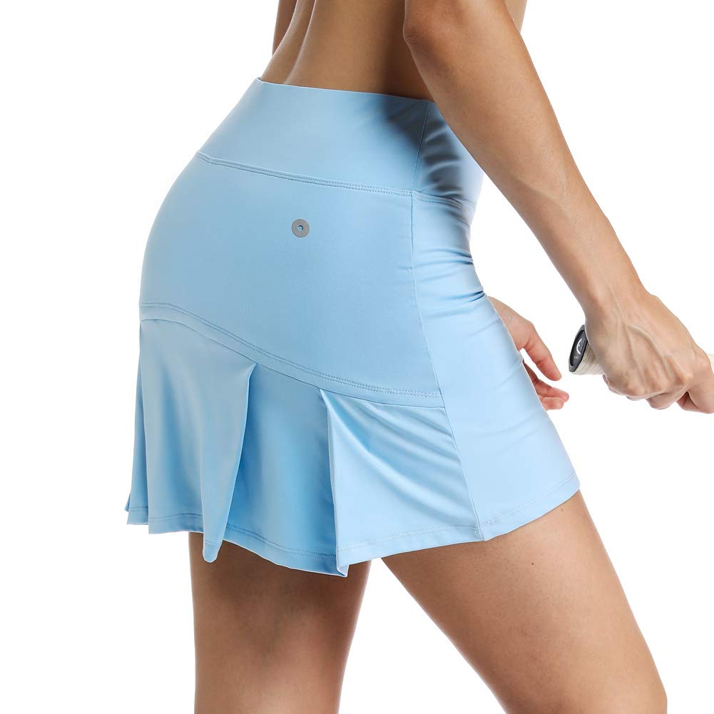 Ultrafun Women's Active Tennis Golf Skort Pleated Athletic Sports Running Skirt with Pockets and Shorts (Blue, S-Waist:26-28'') by Ultrafun