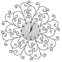 """LuLu Decor, Creeper Metal Wall Clock 24"""", White Glass Dial with Arabic Numbers 9.5"""", Decorative Clock for Living Room, Bedroom, Office Space"""