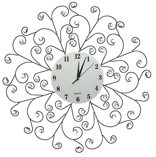 Lulu Decor, Creeper Decorative Metal Wall Clock 24.50 , 9.5 White Glass Dial with Arabic Numbers for Living Room, Bedroom, Office Space