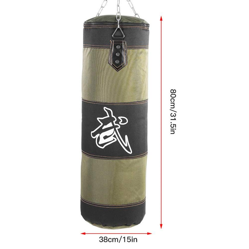 Kpffit Empty Boxing Sand Bag Hanging Kick Sandbag Boxing Training Fight Karate Punch Punching Sand Bag with Metal Chain Hook Carabiner (Green, 80cm Type 1) by Kpffit