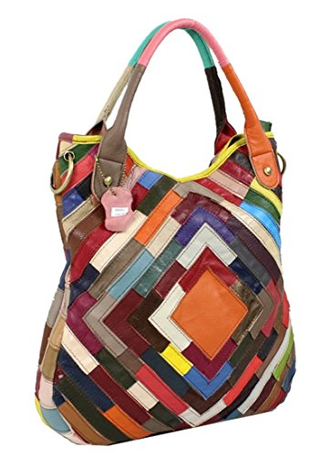 Heshe Womens Sheepskin Leather Handbags Fashion Shoulder Bag Tote Cross Body Purses (Colorful-42)