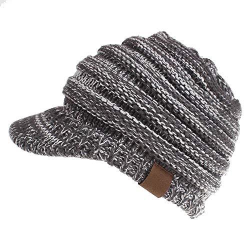 (Dukars Women's Warm Chunky Cable Knit Messy Bun Hat Ponytail Visor Beanie Cap (Grey White Mix))