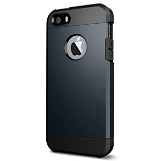 Spigen Tough Armor Desigend for Apple iPhone SE Case (2016) / Designed for iPhone 5S Case (2013) / Designed for iPhone 5 Case (2012) - Metal Slate