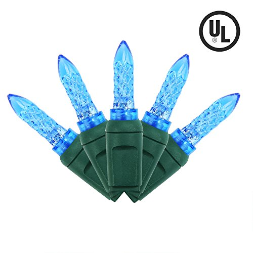MAXINDA Holiday M5 Faceted LED Christmas Tree Lights Connectable Plug,17 Ft 50 Led Outdoor String Lights Blue for Home Decoration]()