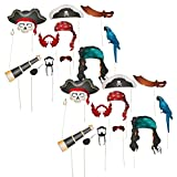 Fun Express Pirate Photo Booth Props - 24 Pieces