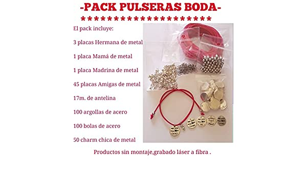 Bisutería Mety Abalorios Pack CREA tu Mismo Placas grabadas Amigas ...