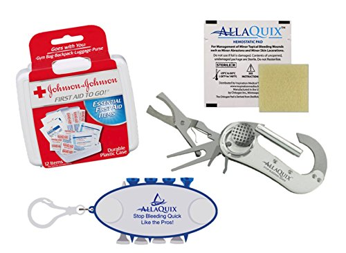 AllaQuix Golf Premium Gift Set with First-Aid Kit, 4-in-1 Carabiner Golf Tool (Divot Tool, Cigar Cutter, Ball Marker, Spike Repair), and Golf Tees -