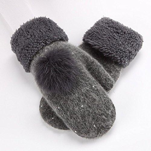 SGFY 2016 新品 冬 レディース 可愛い ウール 厚い 手袋