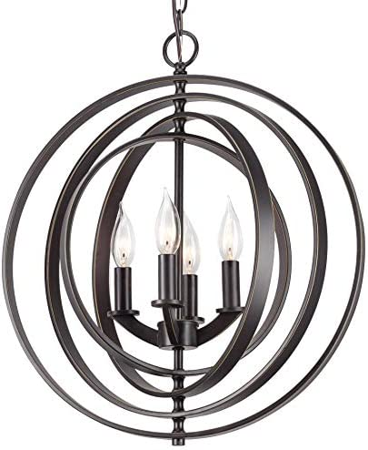 Kira Home Orbits 18 4-Light Modern Farmhouse Orb Globe Pendant Chandelier Pivoting Interlocking Rings, Adjustable Height, Hand Painted Trim Antique Bronze Finish