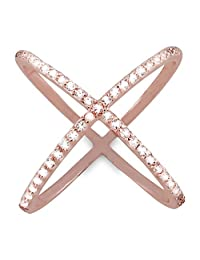 """925 Sterling Silver 14K Rose Gold Plated """"X"""" Criss Cross Long Ring w Cubic Zirconia CZ Stones, Beautiful Jewelry Box Included"""