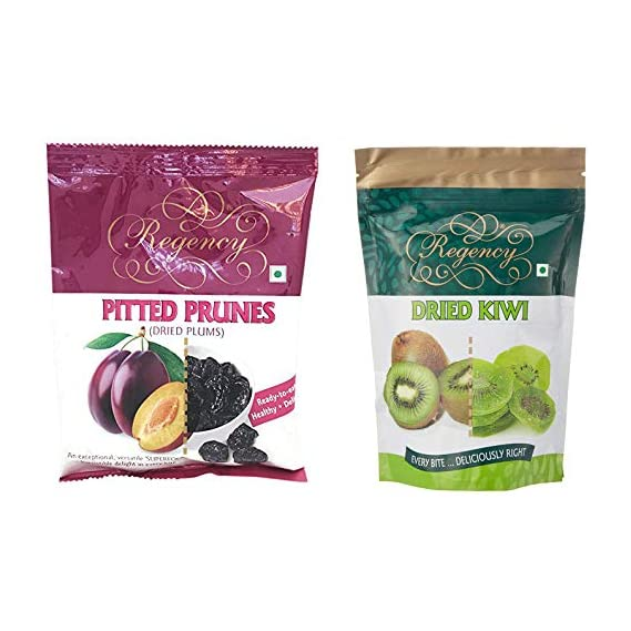 Regency Pitted Prunes, Dried Plum, 240g & Dried Kiwi, 200g Combo
