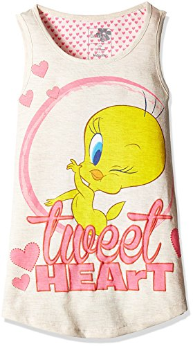 Tweety Girls' T-Shirt (TW0EGT236_Oatmeal Melange_13 - 14 years)