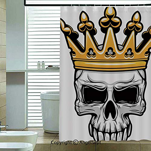 Shower Curtain,Hand-Drawn-Crowned-Skull-Cranium-with-Coronet-Tiara-Halloween-Themed-Image-Decorative,70.8x72 inch,Bathroom Decor,Golden-and-Light-Grey ()
