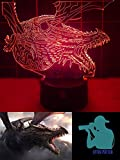 3D Night Light Game of Thrones Dragon. Ultimate 3D Lamp for Game of Thrones TV Fans Worldwide. Turns 7 Delightful Colors. USB Powered. Amazing 3D Illusion, Guaranteed Durable Construction
