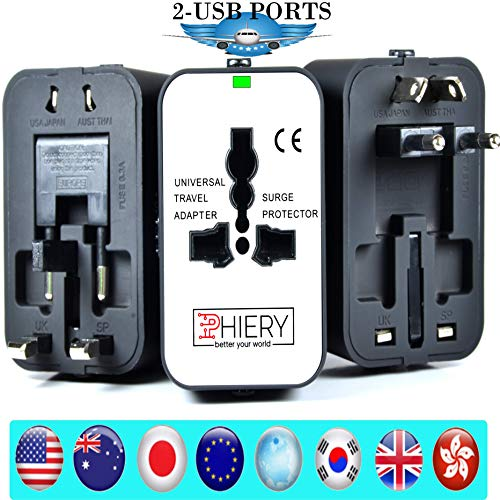 PHIERY Universal Travel Adapter, International Power Adapter Plug and European Wall Charger (USA, UK, EU, AU, US, Europe, Asia) Dual USB to 2.1A 1.0A, Travel Accessories Pouch - Better Your World ()
