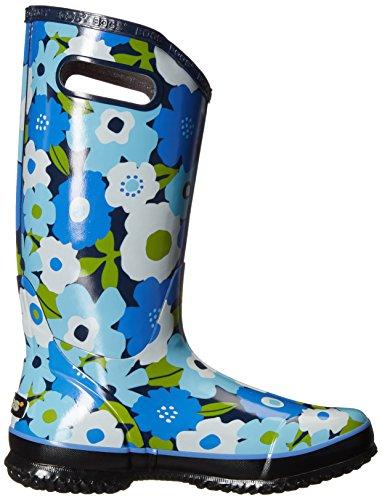Bogs Women's Spring Flower Rain Boot, Blue, 7 M US Navy/Multi