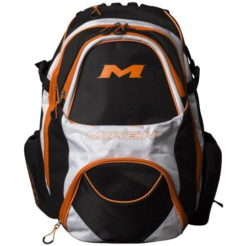 Miken Sports MKBG18-XL-BWO Holds 4 Bats Backpack, Black/White/Orange, X-Large