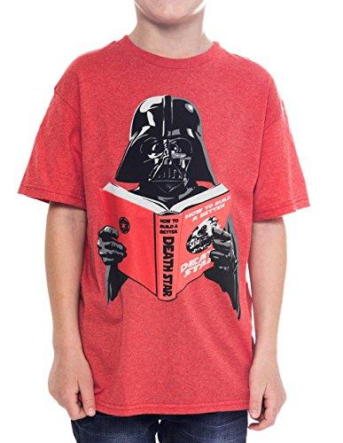 Star Wars Boys T-Shirt Darth Vader Build Better Death Star Ages 7-14 (Large)