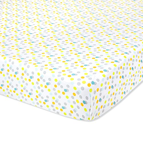 Giraffe Jungle Safari Nursery Bedding Baby Crib Bedding Fitted Sheet 200 Thread Count - Polka Dots (Giraffe Tender)