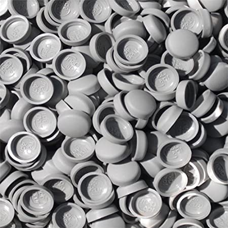 Snap-On Two Piece Dome Screw Cover Caps - Pack Of 50 Small Gloss Caps &  Bases : Morning Grey